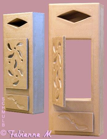 etagere murale et cache compteur mural en carton. Black Bedroom Furniture Sets. Home Design Ideas