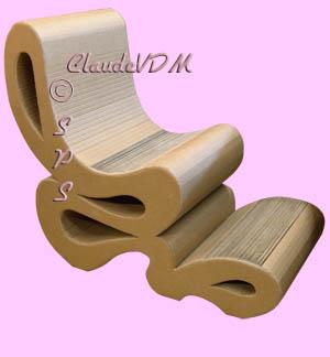 le mobilier en carton et sculpture de claude vdm. Black Bedroom Furniture Sets. Home Design Ideas